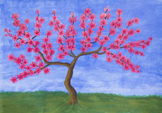 Peach tree in blossom, painting Stock Photography