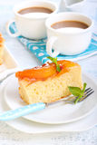 Peach upside down cake Royalty Free Stock Photos