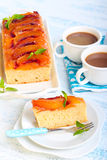 Peach upside down cake Stock Photos