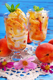 Peach and vanilla ice cream with caramel and mint Stock Image