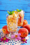 Peach and vanilla ice cream with caramel and mint Stock Images
