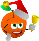 Peach wearing Santa's hat and playing bell Royalty Free Stock Photography