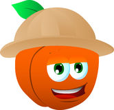 Peach wearing scout or explorer hat Royalty Free Stock Photography