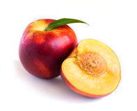 Peach on a white background Stock Images