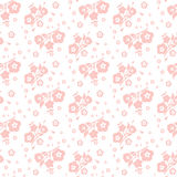 Peach on a white background seamless pattern of flowers and leav Royalty Free Stock Photos
