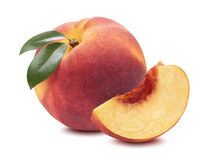 Peach whole quarter piece  on white background Stock Image