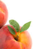 Peach With Leaves Stock Photos