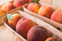Peach on wood background Royalty Free Stock Photography