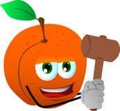 Peach with a wooden hammer Royalty Free Stock Photo