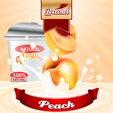 Peach yogurt ads. Splashing scene with package and fruits. Editable mockup. HiRes, Vector EPS10 file. 100% Layered and editable. Good for all sizes stock illustration