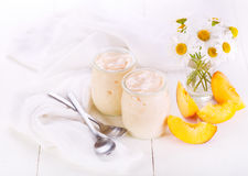 Peach yogurt with fresh fruits Stock Photo