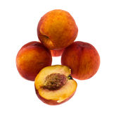 Peaches. Some the whole fruits peach on a white background Royalty Free Stock Photography