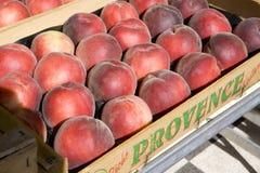 Peaches. Street market in Salles-sur-Verdon, Provence, France Stock Photo