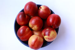 Peaches. Bowl of nectarine peaches view from above Royalty Free Stock Photos