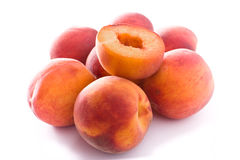 Peaches. Some Peaches isolated on white Stock Photos