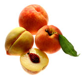 Peaches. Sliced on white background Stock Photography