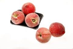 Peaches. Fresh sweet peaches on white Royalty Free Stock Photography