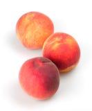 Peaches. Three peach on a white background closeup stock photos