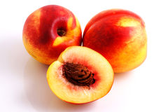 Peaches. Isolated on white background Royalty Free Stock Photography