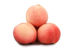 Peaches. Red peaches on white background Stock Images