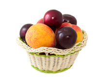 Peaches And Plums In A Basket Royalty Free Stock Image