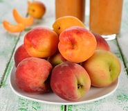 Peaches and apricots Stock Image