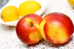 Peaches for baby puree food Royalty Free Stock Images