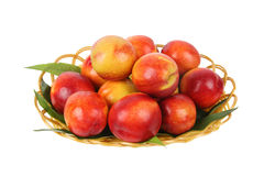 Peaches in basket. Fresh peaches in the basket isolated on white Royalty Free Stock Images