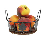 Peaches in Basket Royalty Free Stock Photo