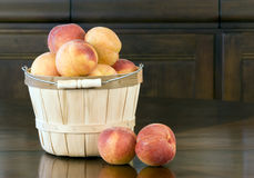 Peaches in Basket - horizontal Stock Photography