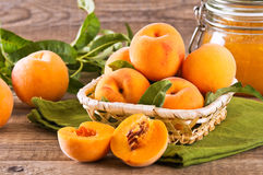 Peaches in the basket. Royalty Free Stock Photos
