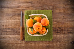 Peaches in the basket. Stock Photo