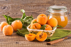 Peaches in the basket. Stock Photos