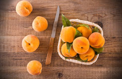 Peaches in the basket. Royalty Free Stock Images