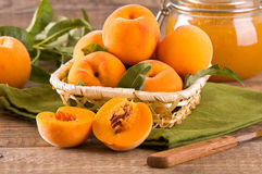 Peaches in the basket. Stock Images