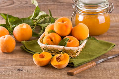 Peaches in the basket. Image of a group of peaches in the basket with jam Royalty Free Stock Image