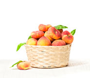 Peaches  in basket isolated Royalty Free Stock Image