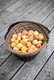 Peaches in a basket. On wood floor Royalty Free Stock Photos