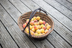 Peaches in a basket. On wood floor Royalty Free Stock Images