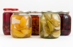 Peaches bears jars Stock Photography