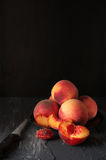 Peaches on black Royalty Free Stock Photography