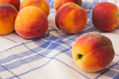 Peaches on  blue and white tablecloth Stock Images