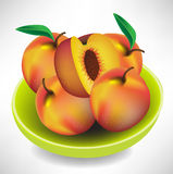 Peaches in bowl Stock Photos