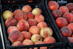 Peaches on boxes from a market Royalty Free Stock Photography