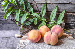Peaches with a branch on a cutting board covered sackcloth Royalty Free Stock Photography