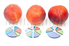 Peaches with charts Royalty Free Stock Images