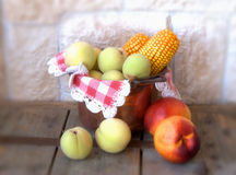 Peaches and corn Royalty Free Stock Images