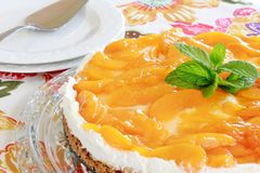 Peaches and Cream Cheesecake Royalty Free Stock Photography