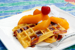 Peaches and cream waffles Stock Image