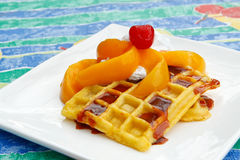 Peaches and cream waffles Royalty Free Stock Photos